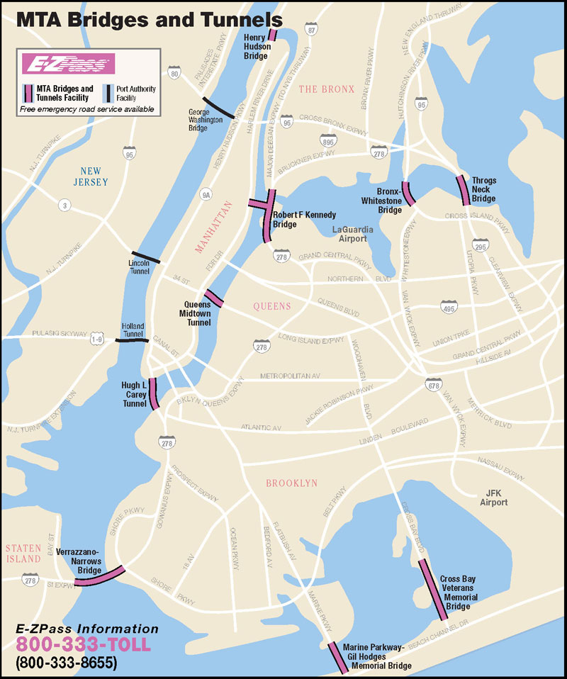 Mtainfo Bridges And Tunnels Map - Nyc map