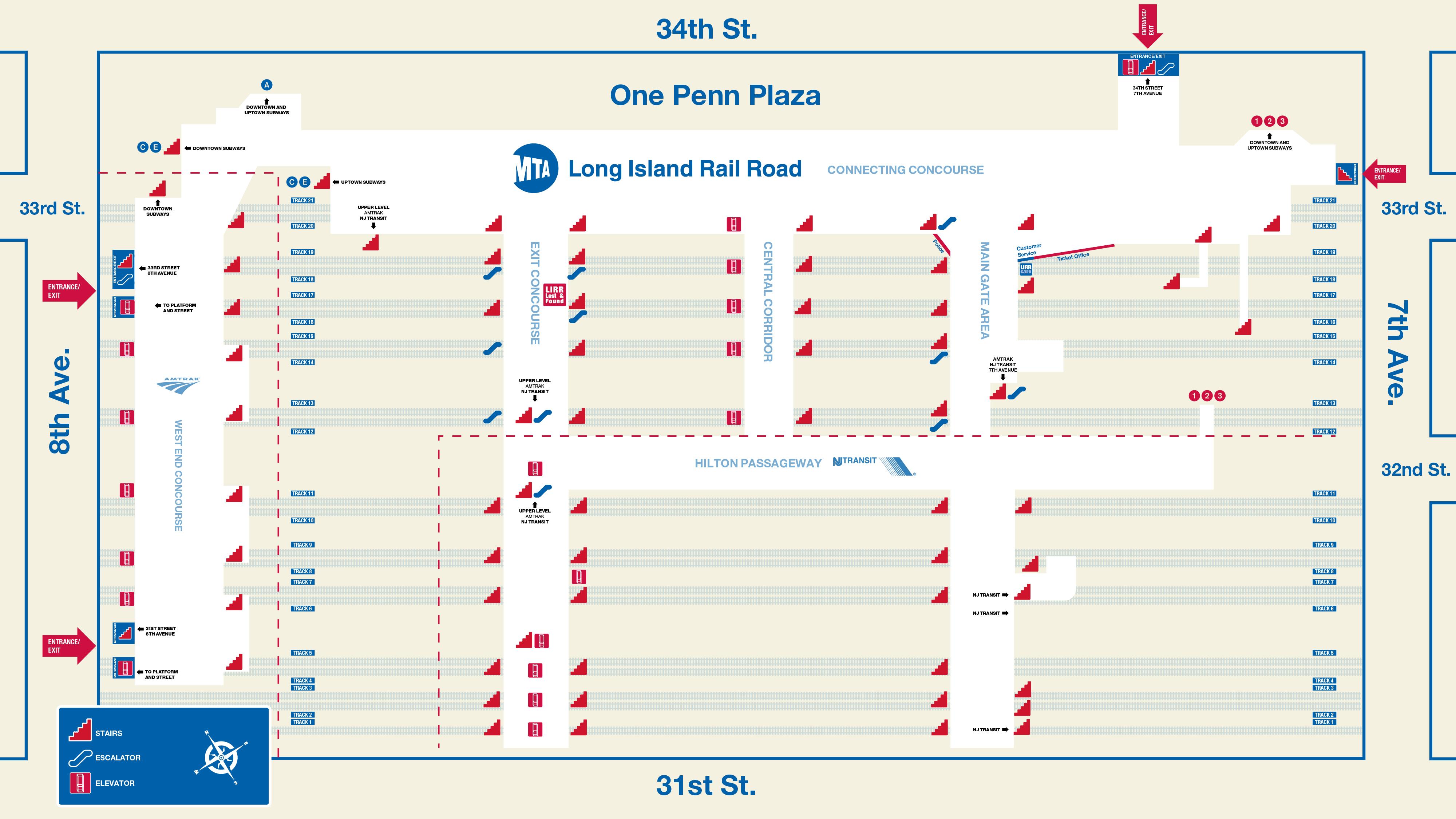 New York Subway Map Penn Station.Mta Lirr Penn Station Service