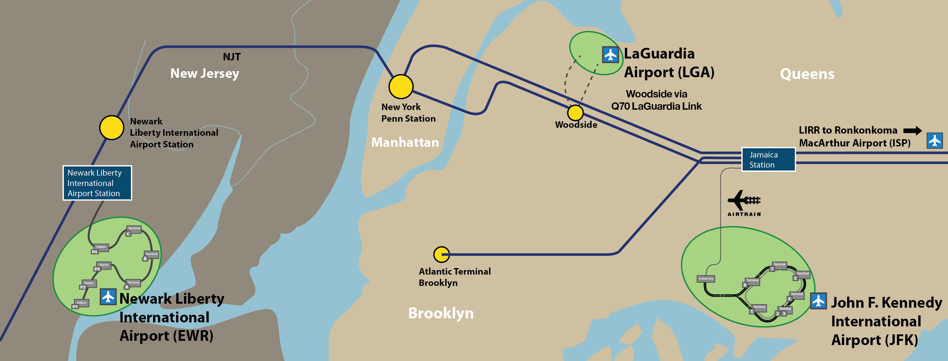 Map Of New York Showing Jfk Airport.Take The Train To The Plane At Jfk Lga Isp Ewr
