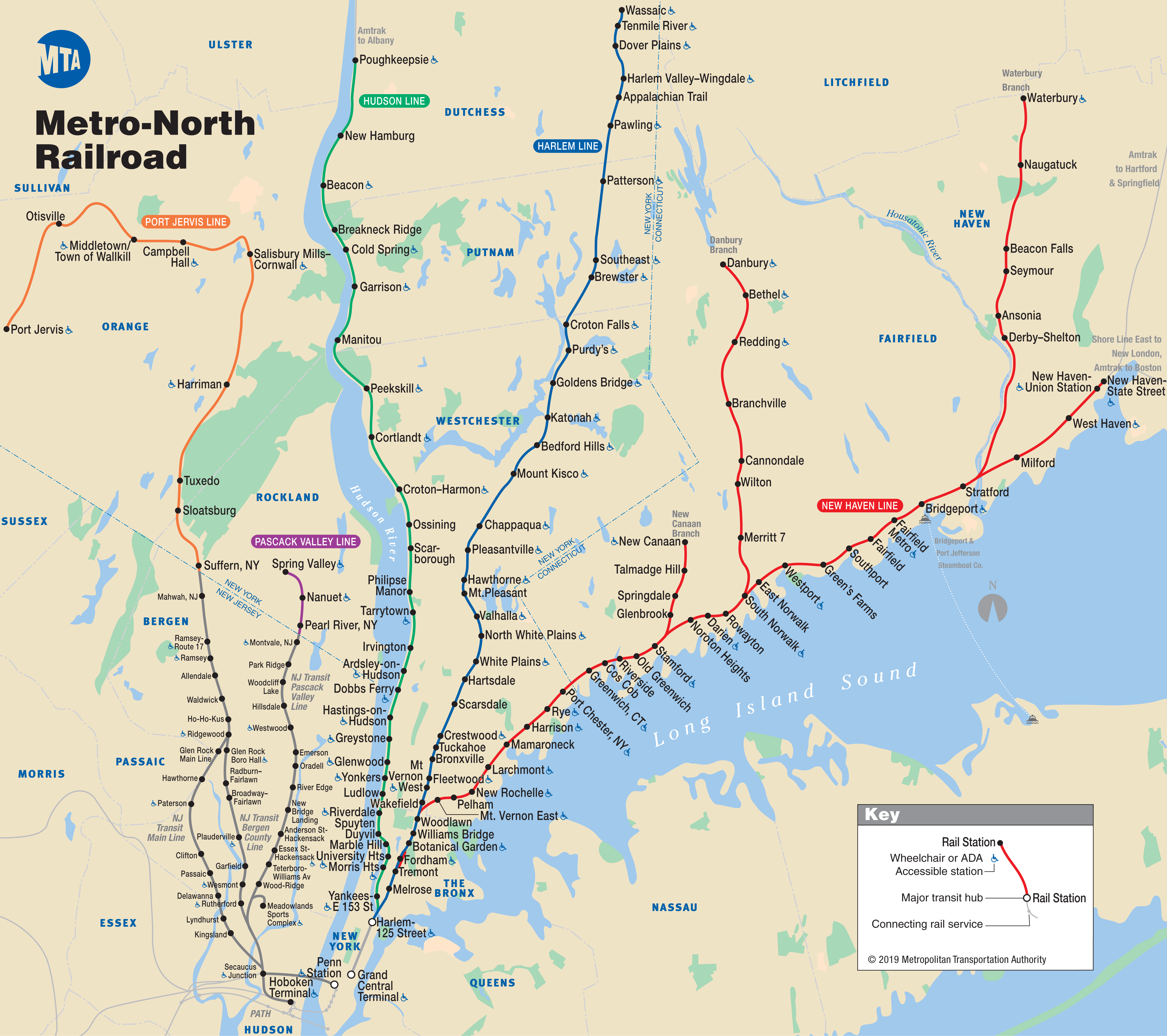 metro north railroad map. mnr map