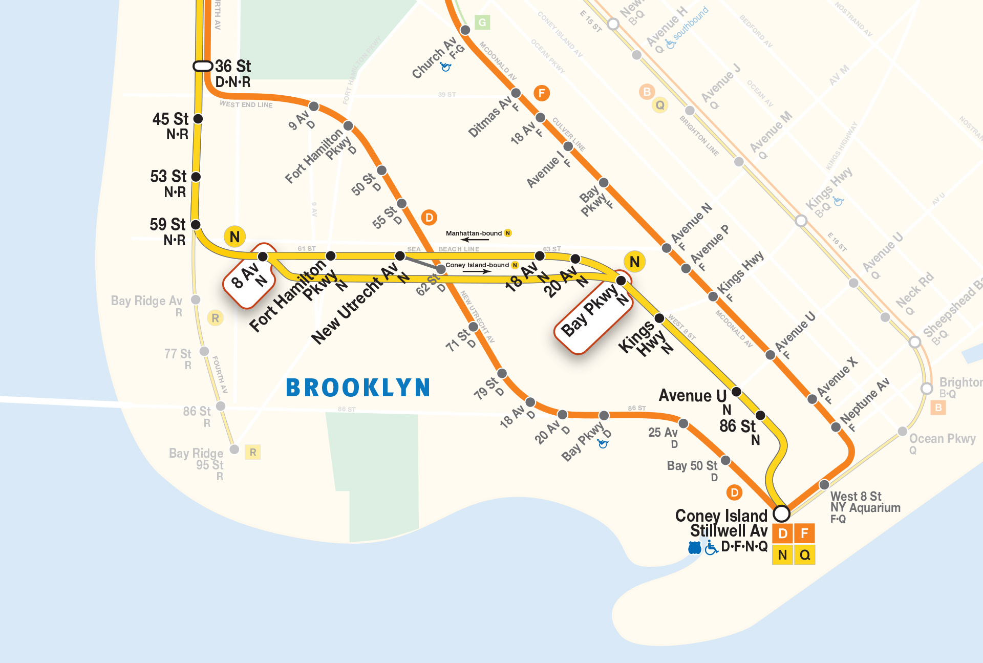 D Train To Coney Island Subway Map.N Sea Beach Line 2017
