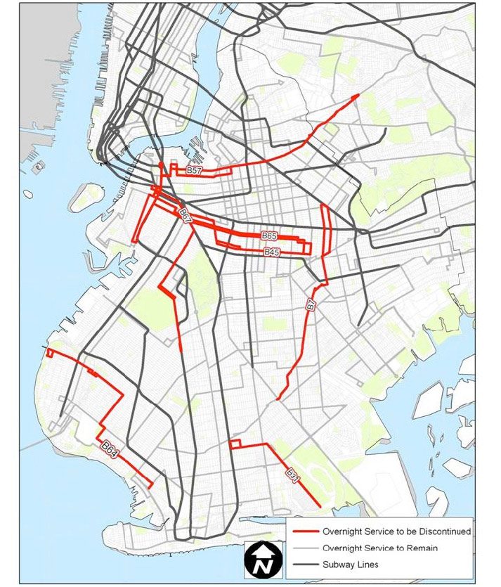 MTANew York City Transit NYC Transit Service Reduction - Brooklyn bus map
