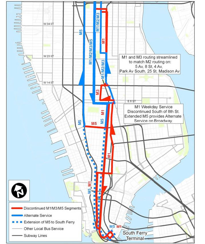 Restructure North South Bus Service In Manhattan Revise M1 And M3