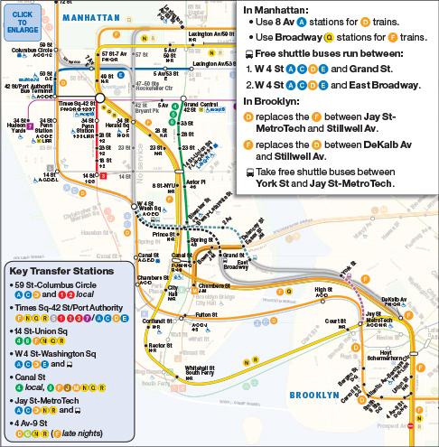 6th Avenue Subway Map.Mta Info Weekend Df
