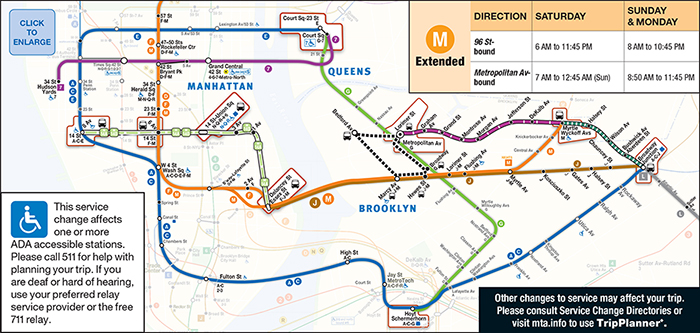 L Subway Map.Mta Info Weekend L