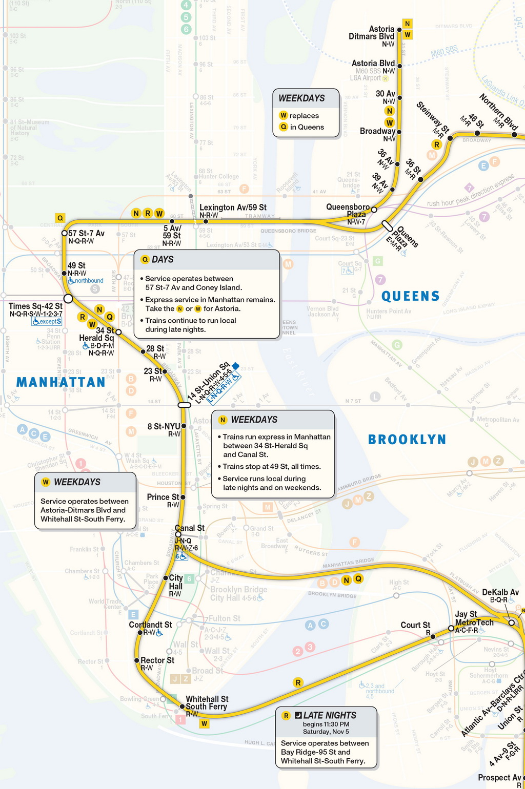 Queens And Manhatan Subway Map.Mta Info Nqrw Guide