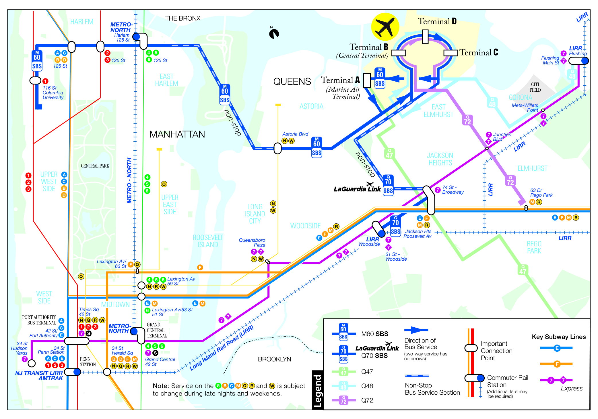 Astoria Subway Map.Mta Info Services To Laguardia And Kennedy Airports